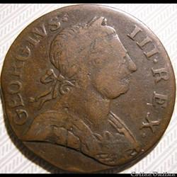 1775 Half Penny No Regal - George III of Great Britain (Ex.8)