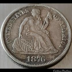 1876 S Dime / 10 Cents