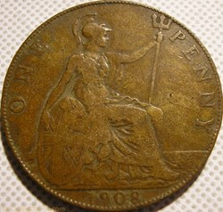 Edward VII - One Penny 1908 - Great Brit...