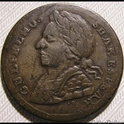 1790s Gulielmus Shakespear - Evasion HalfPenny Token, England