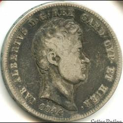 1844 Royaume de Sardaigne, 2 Lire Genova - Carlo Alberto