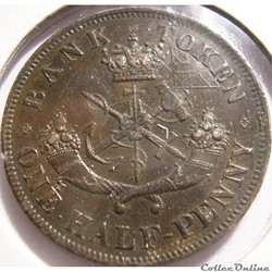 Upper Canada - 1854 HalfPenny Bank Token...