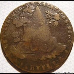 México - 1/4 Real 1859 Estado Zacatecas - 1st Republic