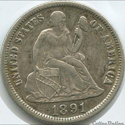 1891 s Dime / 10 Cents