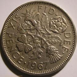 Elizabeth II - 6 Pence 1967 - UK