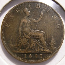 Victoria - One Farthing 1891 - Kingdom o...