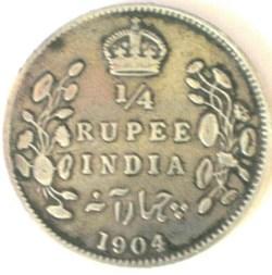 Edward VII - 1/4 Rupee 1904 Calcutta - E...
