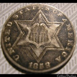 1858 - Silver Three Cents