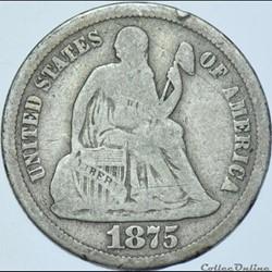 1875 S Dime / 10 Cents