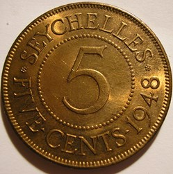 George VI - 5 Cents 1948 - Seychelles