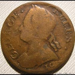 George III (II) Rules, 1774 Half Penny No Regal, Evasion - Delectat Rus