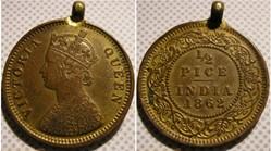 Victoria - 1/2 Pice 1862 Calcutta - Brit...