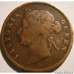 Victoria - One Cent 1875 w - Straits Settlements, Malaysia