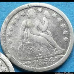 ←1854→ Dime / 10 Cents