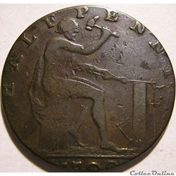 1792 HalfPenny Charles Roe, Copper Works - Cheshire, Macclesfield