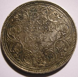 Victoria - One Rupee 1862 Bombay - Briti...