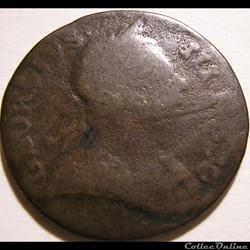 1772 Half Penny No Regal - George III of Great Britain (ex.3)
