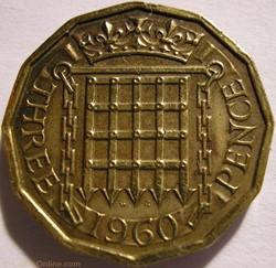 Elizabeth II - 3 Pence 1960 - UK