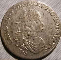 Karl XI of Sweden - 1/3 Thaler 1674 Pome...