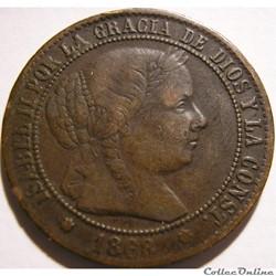 1868 Sevilla - 2, 1/2 Centimos - Isabel II de España