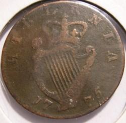 1775 Half Penny Hibernia - George III of...