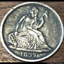 1837 Half Dime No Star