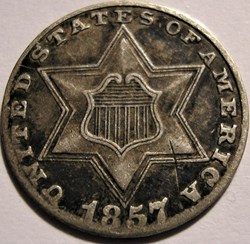 1857 - Silver Three Cents