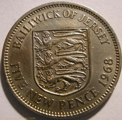 States of Jersey - Five New Pence 1968 -...