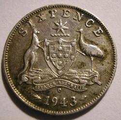 George VI -  6 Pence 1943 D - Australia