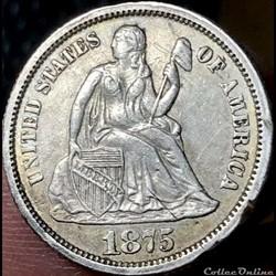 1875 Dime / 10 Cents