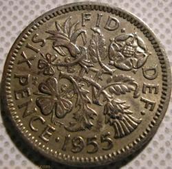 Elizabeth II - 6 Pence 1955 - UK