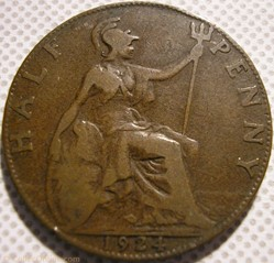George V - Half Penny 1924 - United King...