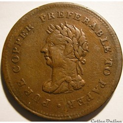 George IV - One Penny Token 1838 Trade & Navigation