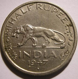 George VI - Half Rupee 1947 Bombay - Bri...