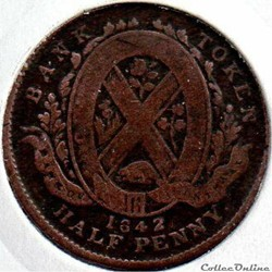 monnaie monde canadum montreal 1842 halfpenny token bank canadian provinces