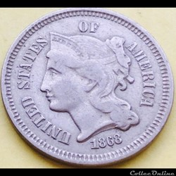1868 - 3 Cents