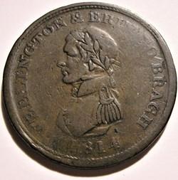 Wellington - One Penny 1814 Token - Dubl...