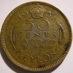 George VI - 50 Cents 1951 - Ceylon / Sri...