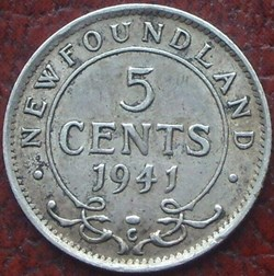 George VI - 5 Cents 1941C Newfoundland