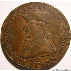 1795 HalfPenny Earl Howe - Emsworth, Ham...