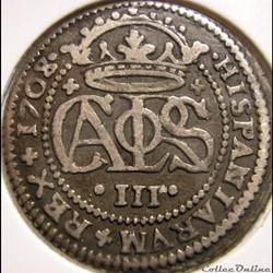 1708/7 Barcelona 2 Reales - Karl VI Habsburg - Pretendiente de España