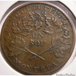 Montreal 1837 Un Sou Bouquet - Banque du Peuple, Rebellion