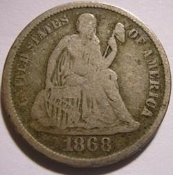 1868 S Dime - 10 Cents