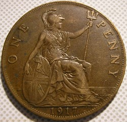 George V - One Penny 1917 - Great Britai...
