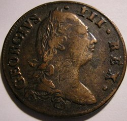 1782 Half Penny No Regal, Hibernia - Geo...