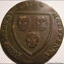 1794 HalfPenny - Shropshire, Shrewsbury / Woolpack