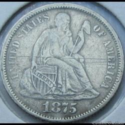 1875 cc Above Dime / 10 Cents