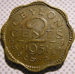 George VI - 2 Cents 1951 - Ceylon / Sri ...