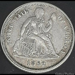 monnaie monde etat uni 1862 dime 10 cents