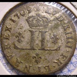 """Louis XIV - 30 Deniers 1709 AA - dit """"Mousquetaire"""""""